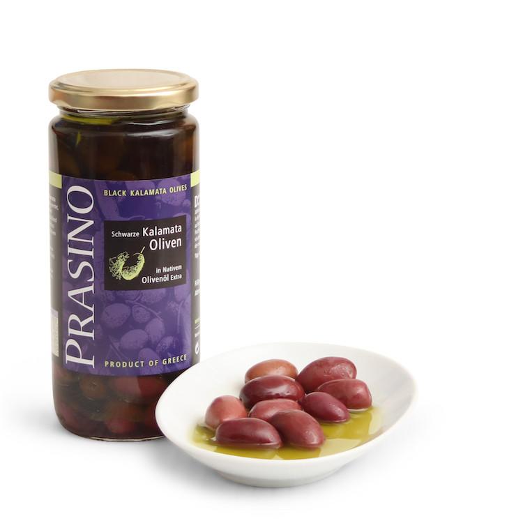 Lieblings Schwarze Kalamata Oliven in Olivenöl - ungefärbt   Prasino #NH_36